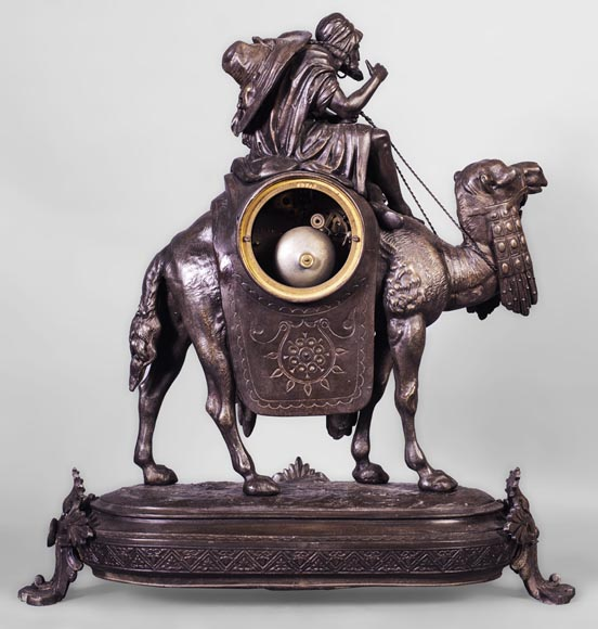 Clock with a egyptian meharist on his mount, late 19th century-8