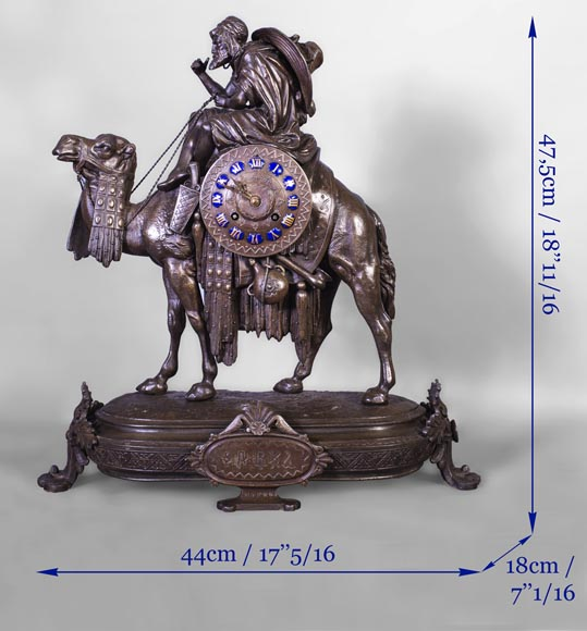 Clock with a egyptian meharist on his mount, late 19th century-9