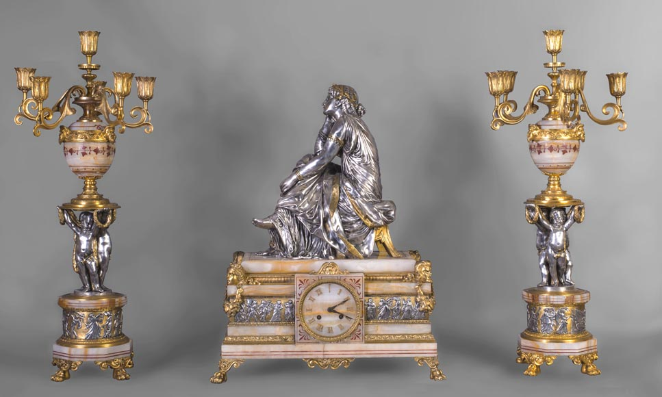 Maison DENIERE - Napoleon III style fireplace insert in gilded, silver bronze and onyx-0