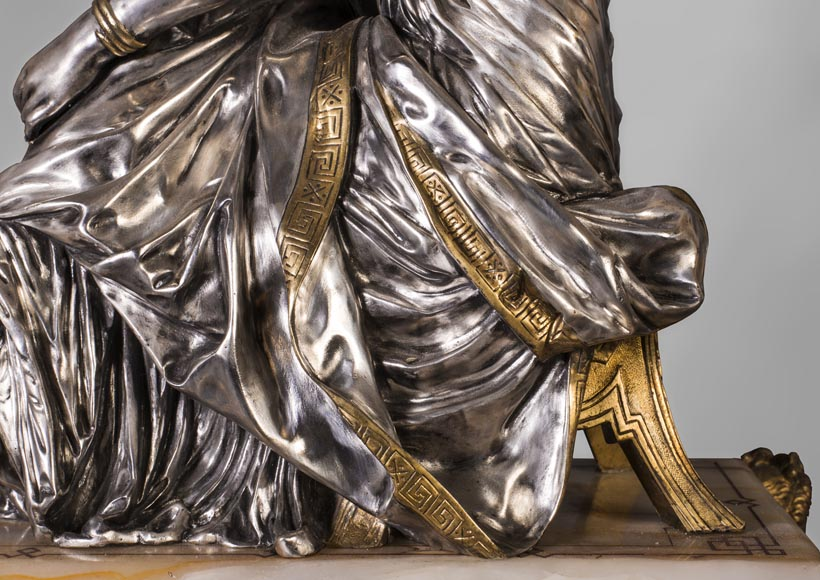 Maison DENIERE - Napoleon III style fireplace insert in gilded, silver bronze and onyx-4