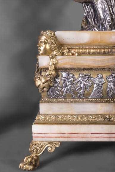 Maison DENIERE - Napoleon III style fireplace insert in gilded, silver bronze and onyx-6