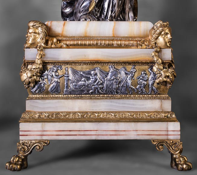 Maison DENIERE - Napoleon III style fireplace insert in gilded, silver bronze and onyx-9