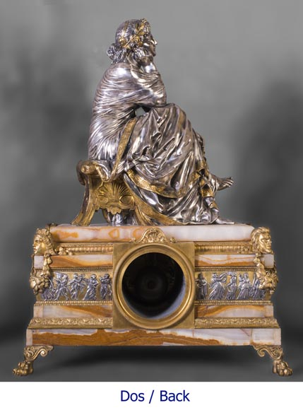 Maison DENIERE - Napoleon III style fireplace insert in gilded, silver bronze and onyx-10