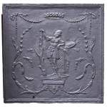 Small antique fireback with soldier in armor decoration
