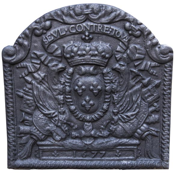 Cast iron fireback with the French coat of arms