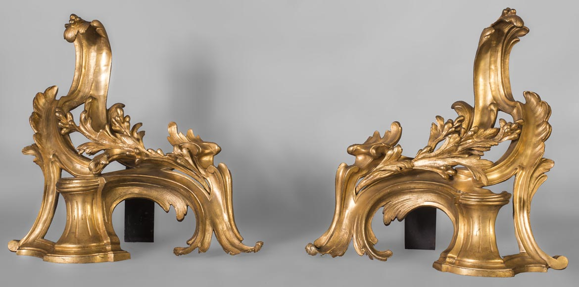 Pair of Louis Xv style chenets, in gilded bronze-0