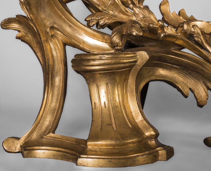 Pair of Louis Xv style chenets, in gilded bronze-1