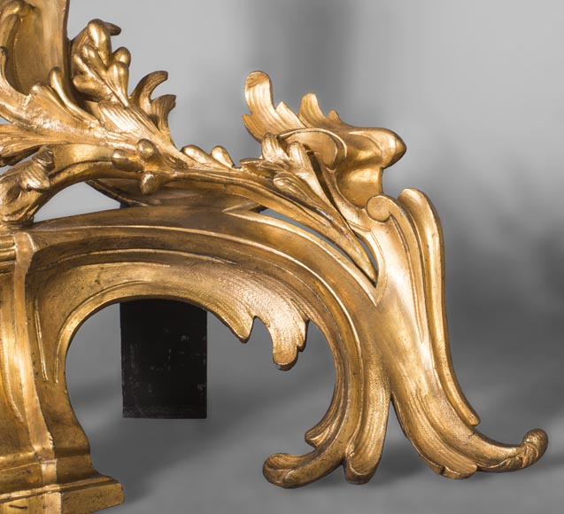 Pair of Louis Xv style chenets, in gilded bronze-2
