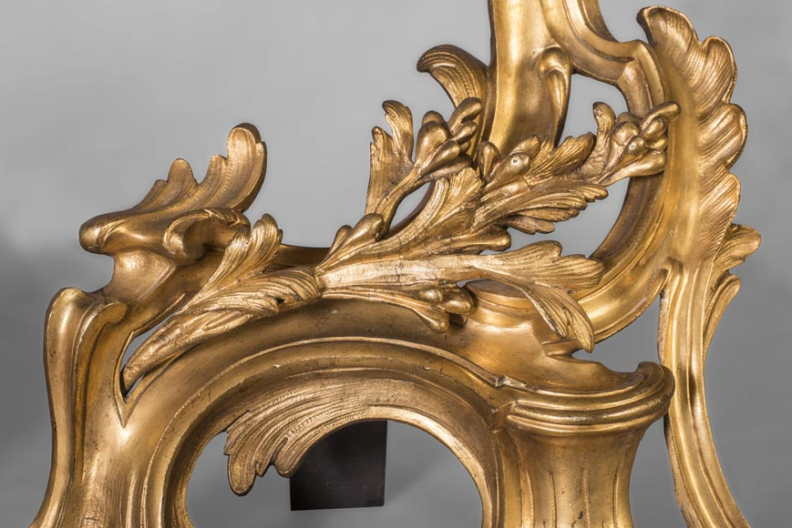 Pair of Louis Xv style chenets, in gilded bronze-3