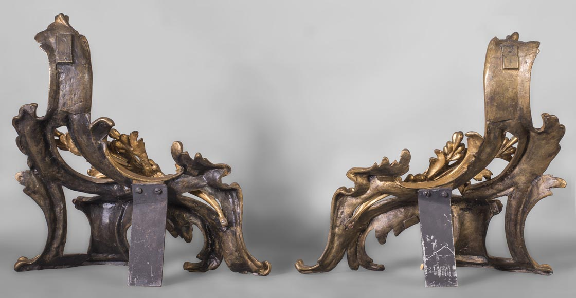 Pair of Louis Xv style chenets, in gilded bronze-5