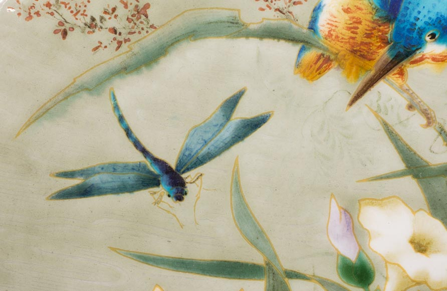 Théodore DECK (1823-1891) - Glazed earthenware dish decorated with a flying dragonfly and a kingfisher-3
