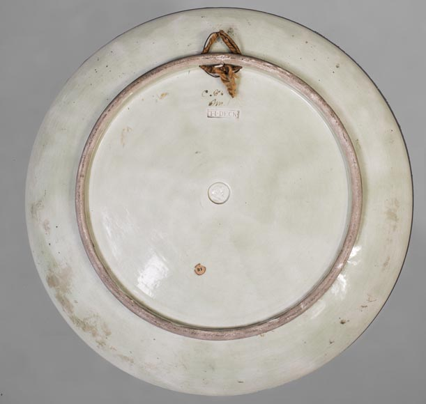 Théodore DECK (1823-1891) - Glazed earthenware dish decorated with a flying dragonfly and a kingfisher-4