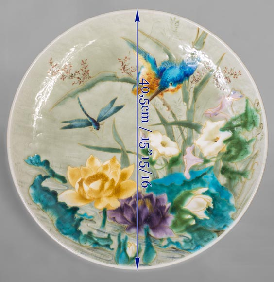 Théodore DECK (1823-1891) - Glazed earthenware dish decorated with a flying dragonfly and a kingfisher-7