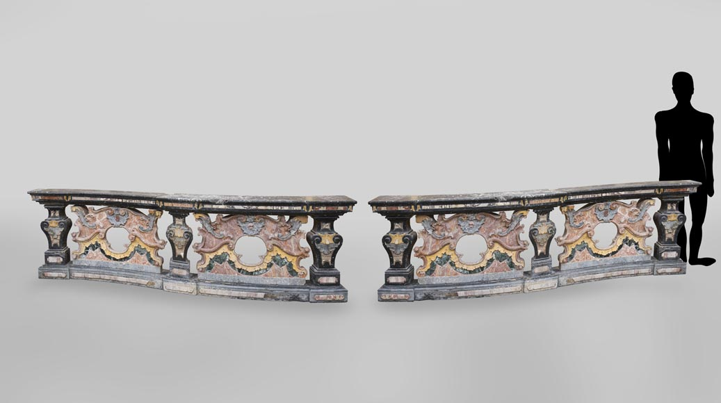 Pair of Baroque style balustrades in polychrome marble-0