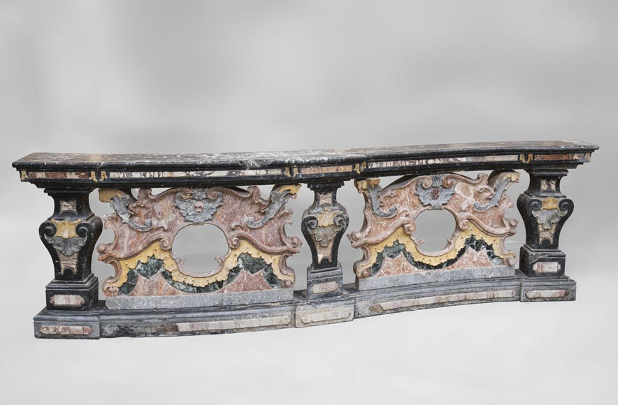 Pair of Baroque style balustrades in polychrome marble-1