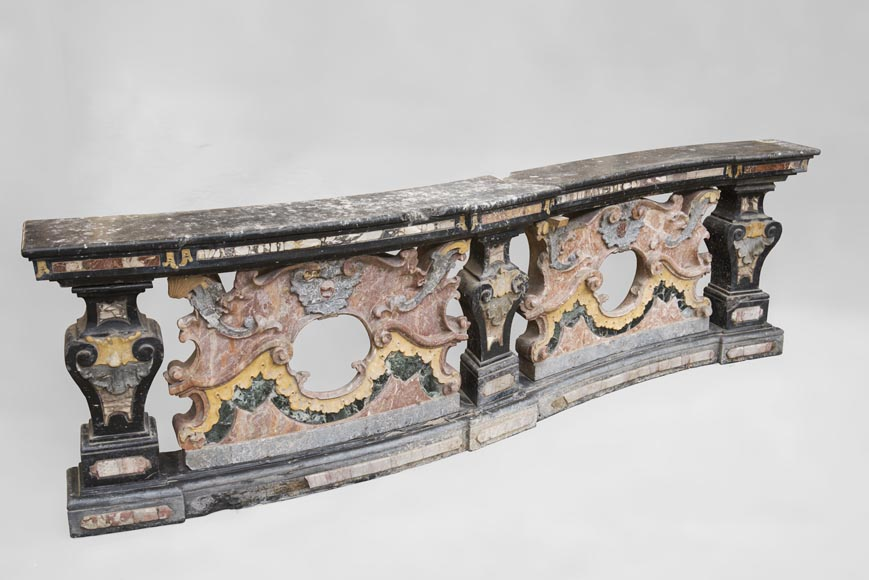 Pair of Baroque style balustrades in polychrome marble-3