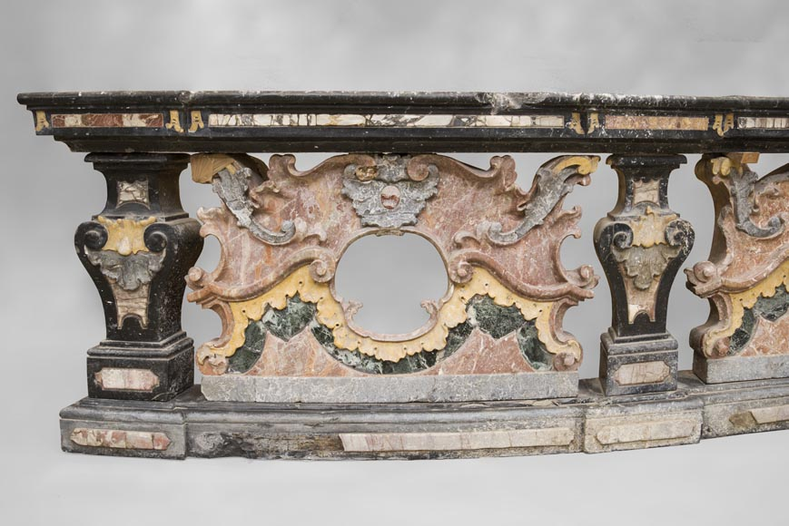Pair of Baroque style balustrades in polychrome marble-4
