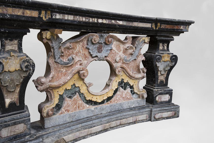 Pair of Baroque style balustrades in polychrome marble-5