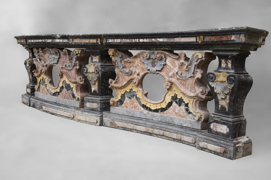 Pair of Baroque style balustrades in polychrome marble-6