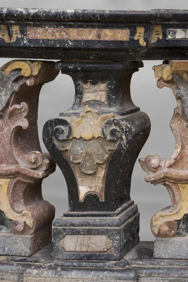 Pair of Baroque style balustrades in polychrome marble-7