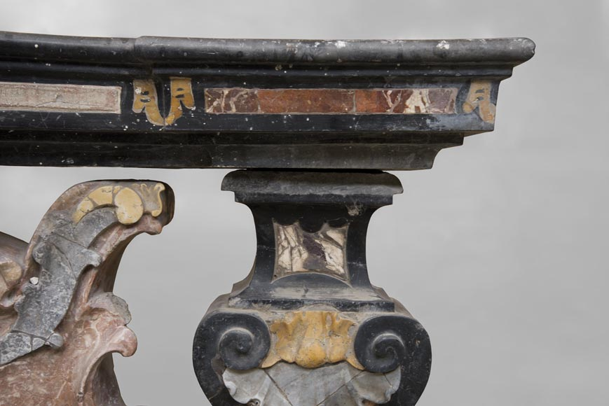 Pair of Baroque style balustrades in polychrome marble-8