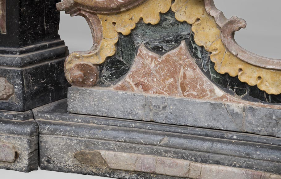 Pair of Baroque style balustrades in polychrome marble-10