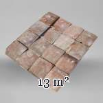 Little set of terracotta floor tiles in square shape