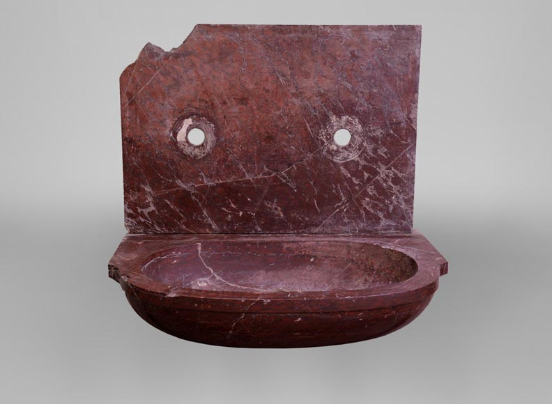Antique 19th-century sink in Red Griotte marble-1