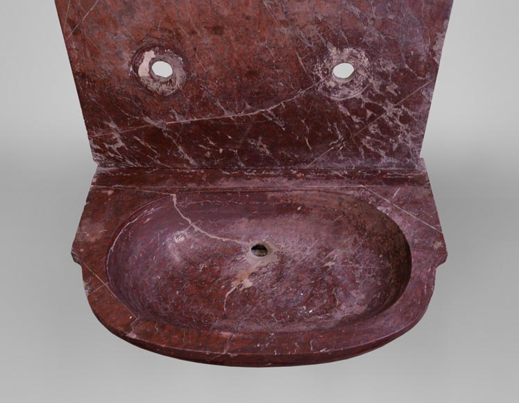 Antique 19th-century sink in Red Griotte marble-2