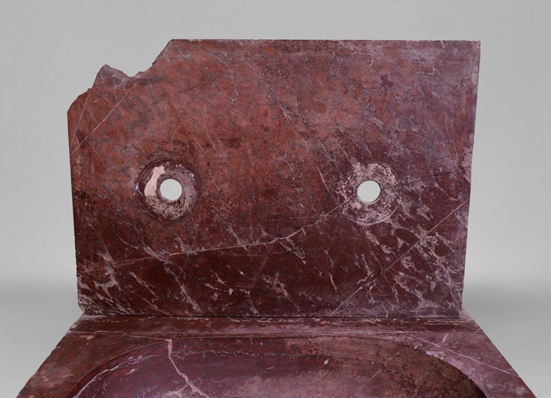 Antique 19th-century sink in Red Griotte marble-3