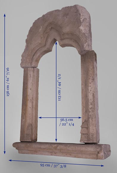Stone window frame from the Gothic period-6