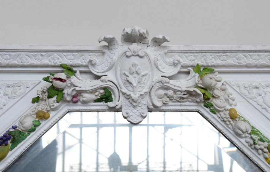 Napoleon III style overmantel pierglass with carved decoration of a garland of fruits-1