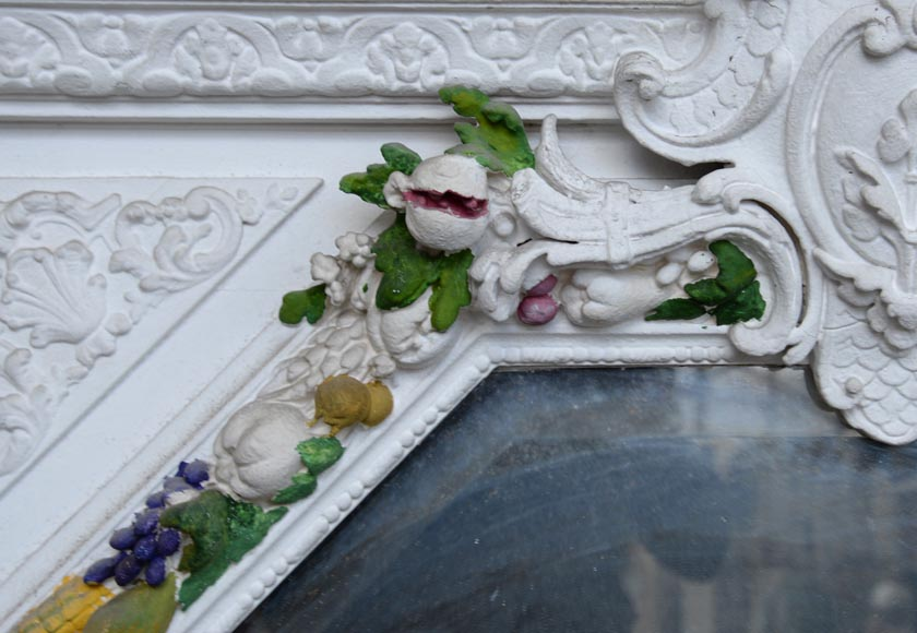 Napoleon III style overmantel pierglass with carved decoration of a garland of fruits-2