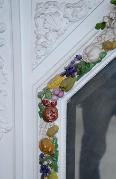 Napoleon III style overmantel pierglass with carved decoration of a garland of fruits-3