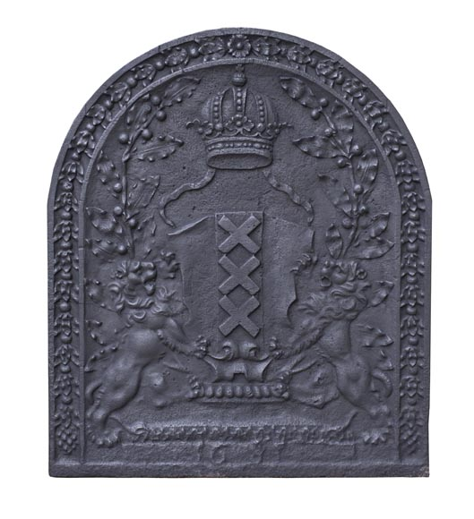 Antique fireback with the coat of arms of Amsterdam, capital of the Netherlands-0
