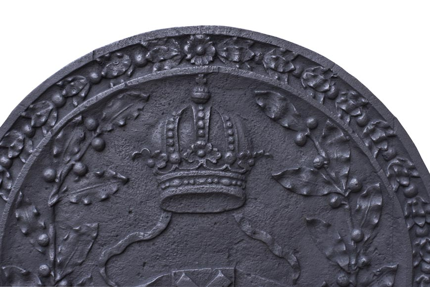 Antique fireback with the coat of arms of Amsterdam, capital of the Netherlands-1