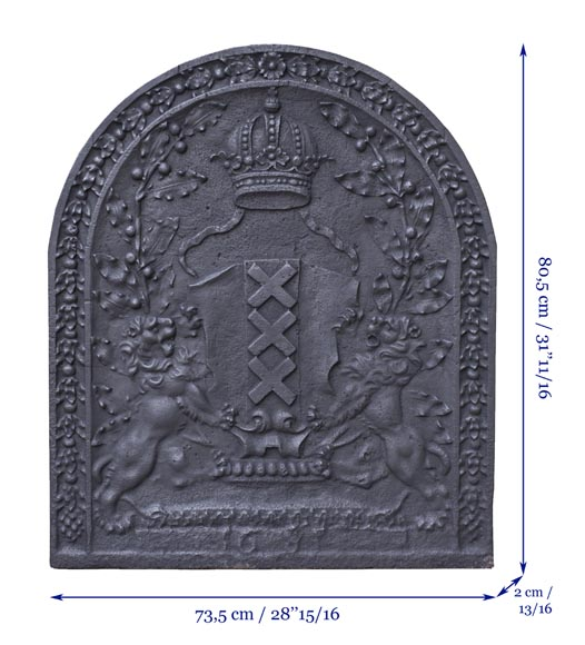 Antique fireback with the coat of arms of Amsterdam, capital of the Netherlands-7