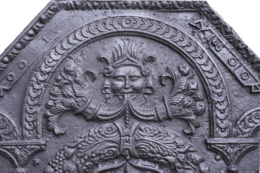18th century fireback with French arms and lions-1