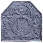 18th century fireback with French arms and lions