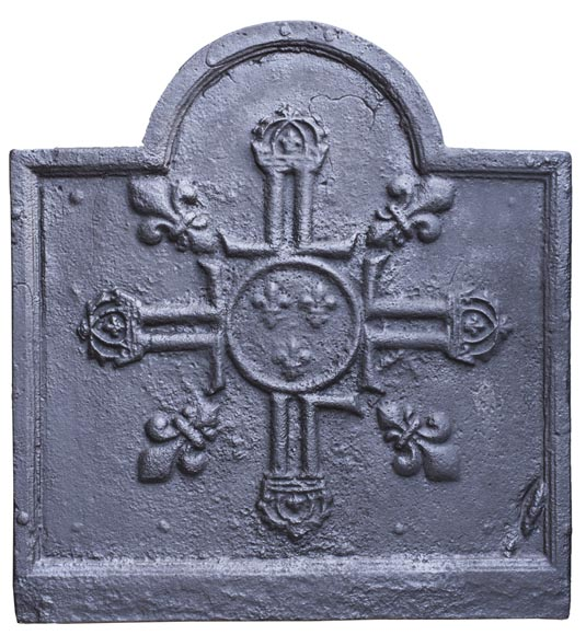 Cast iron fireback from the 17th century with French royal coat of arms-0