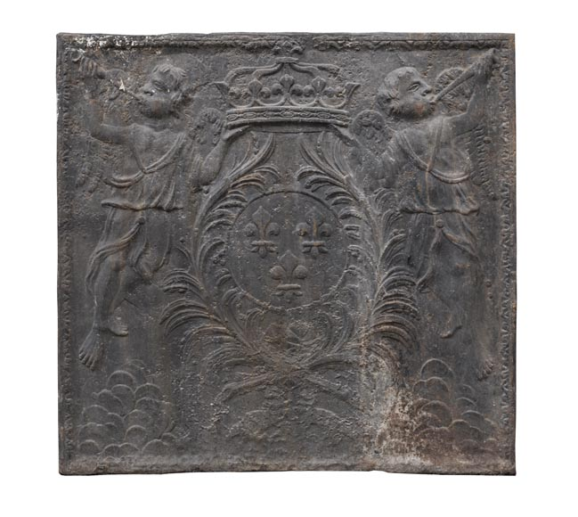 18th century fireback with French arms and angels holding the royal crown-0