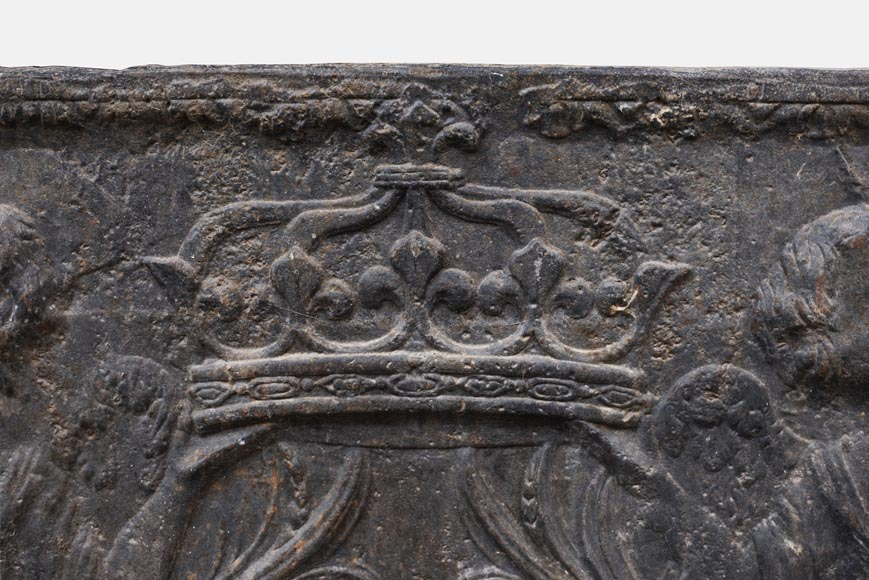 18th century fireback with French arms and angels holding the royal crown-1