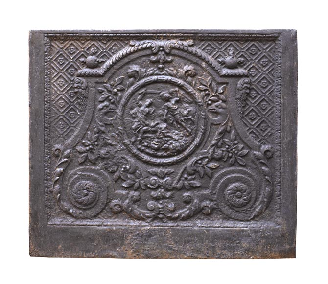An antique fireback representing the Sacrifice of Isaac-0