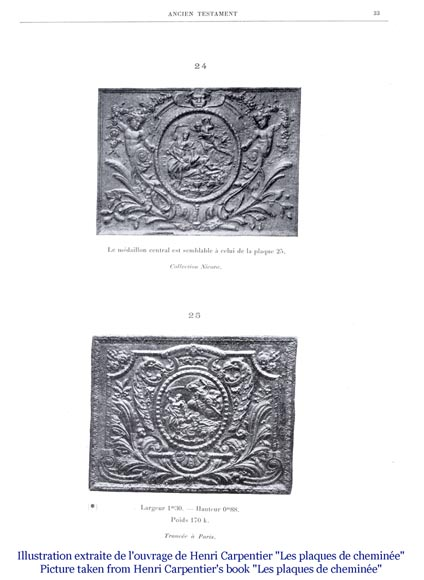 An antique fireback representing the Sacrifice of Isaac-6