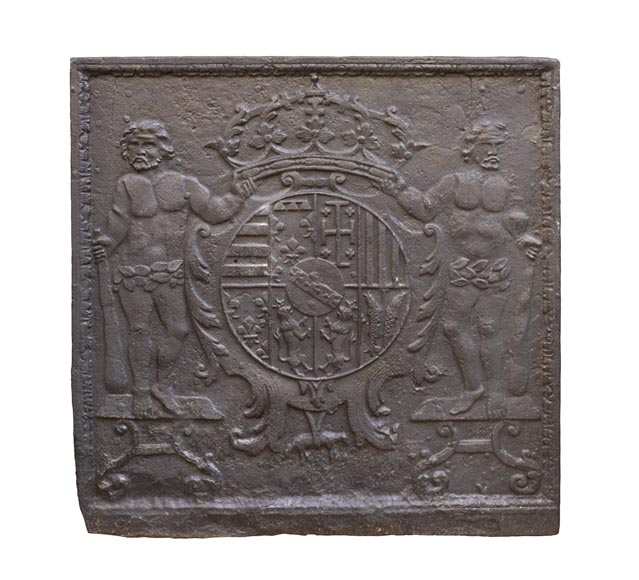 18th century fireback with the coat of arms of Leopold I Duke of Lorraine-0
