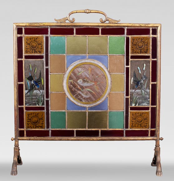 Fire screen with stained glass decorated with fish and kingfisher-0