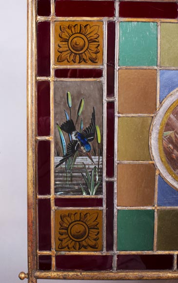 Fire screen with stained glass decorated with fish and kingfisher-2