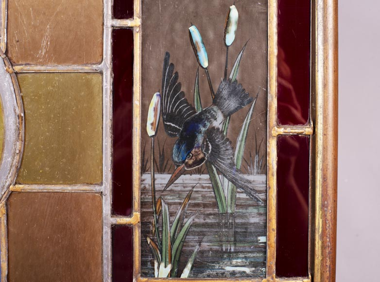Fire screen with stained glass decorated with fish and kingfisher-3