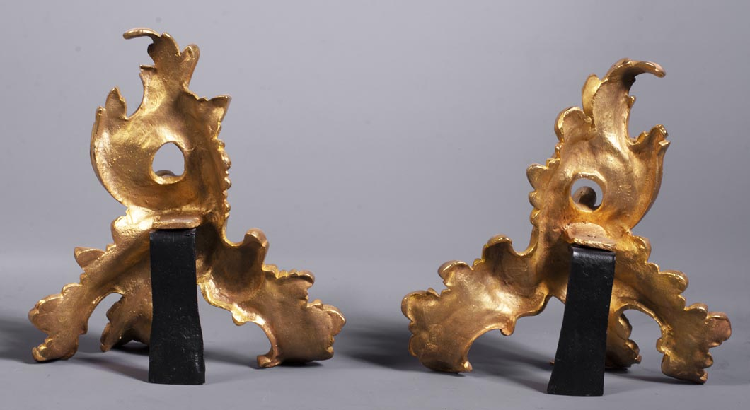Pair of gilt bronze andirons with foliage-8