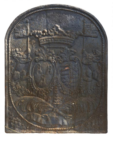 Antique fireback with coat of arms and flag-bearing lions-0